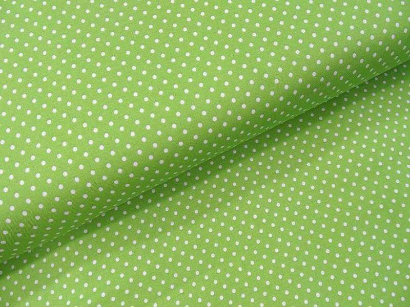 klein gepunkteter  Baumwollstoff grün